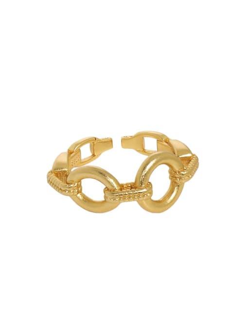 18K gold [14 adjustable] 925 Sterling Silver Hollow Geometric Vintage Band Ring